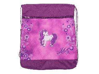 Hálós és zsebes tornazsák - Molly - pink lovacskás