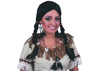 Indián lány paróka - fekete