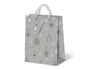 Karácsonyi exkluzív extra nagy díszzacskó (ezüst díszgömbös)