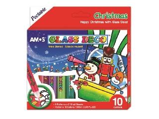 Karácsonyi üvegmatrica-festék sablonokkal (10 db-os)