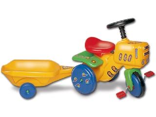 Kerti traktor sárga utánfutóval