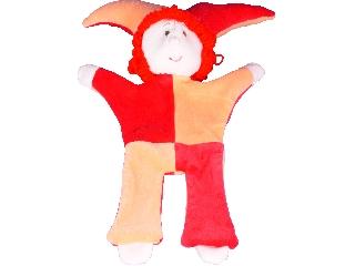 Kezbab figura bohóc ruhás, piros hajú