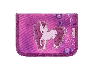 Kihajtható tolltartó - Molly - pink lovacskás