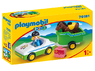 Kisautó lószállító pótkocsival