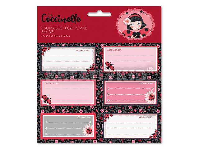La Coccinelle csomagolt füzetcímke (3x6 db)