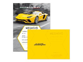 Lamborghini partimeghívó borítékkal