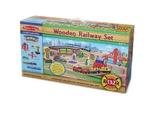 M&D - Fa vonatok és sínek - Vonat, sínek és kiegészítők 132 db-os szett