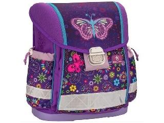 Merev falú iskolatáska - Spring - lila pillangós