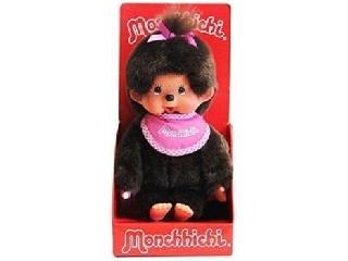 Monchhichi - Klasszikus lány pink előkével 20cm