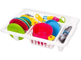 Műanyag 32 darabos étkészlet tálcában
