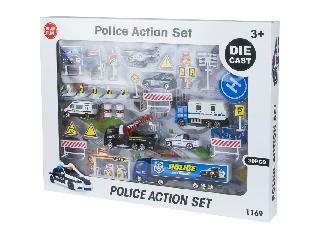 Nagy rendőrségi játékszett járművekkel és kiegészítőkkel