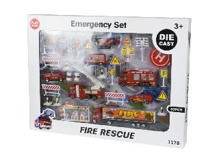 Nagy tűzoltós játékszett járművekkel és kiegészítőkkel