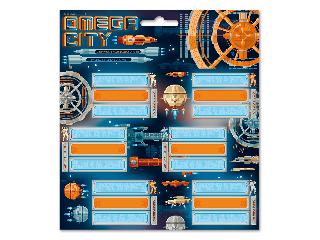 Omega city csomagolt füzetcímke (3*6 db)