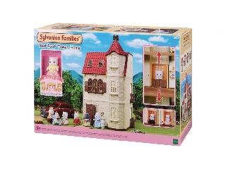 Piros tetős toronyház