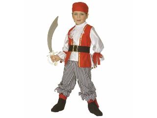 Piros-fehér kalóz fiú jelmez 110 cm-es