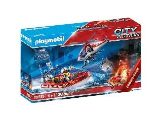 Playmobil: Tűzoltók helikopterrel és hajóval 70335
