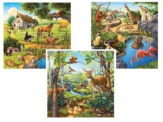 Állatok 3×49 darabos kirakó