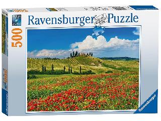 Puzzle 500 db - Toszkán nyár pipacsmezővel