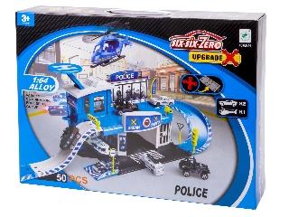 Rendőrségi parkolóház és helikopter leszálló (helikopterrel és 2 fém autóval)