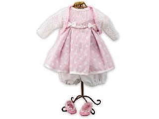 Rózsaszín - fehér, pöttyös babaruha és babacipő játékbabáknak