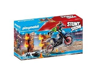 Stunt show motoros kaszkadőr tűzes fallal