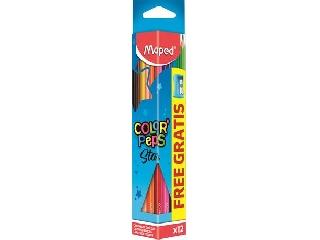 Színes ceruza készlet 12db-os - háromszögletű ajándék hegyezővel