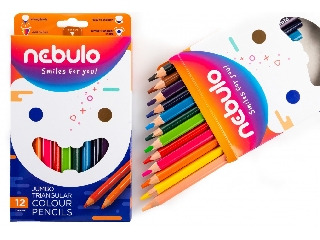 Színes ceruza készlet, háromszögletű,  jumbo, NEBULO, 12 különböző szín