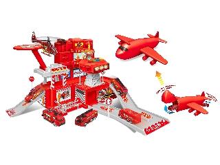 Tűzoltóállomás zenélő, világító világítótoronnyal, 1 repülővel, 2 fém autóval és műanyag autókkal