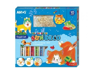 Üvegmatrica festék + 12 db suncatchers kutya cica