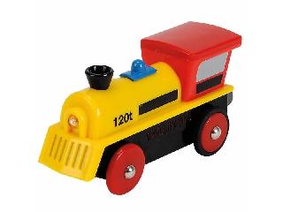 Vasúti elemes mozdony piros-sárga