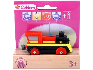 Vasúti elemes mozdony piros-fekete