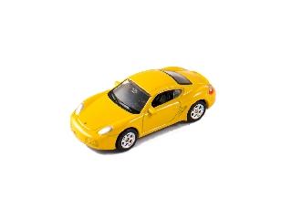 Welly Porsche Cayman S sárga kisautó, 1:60-64